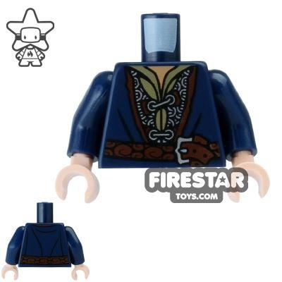 LEGO Mini Figure Torso - Dark Blue Coat with Chain Mail