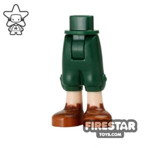 LEGO Elves Mini Figure Legs - Dark Green Cropped Trousers With Brown Boots
