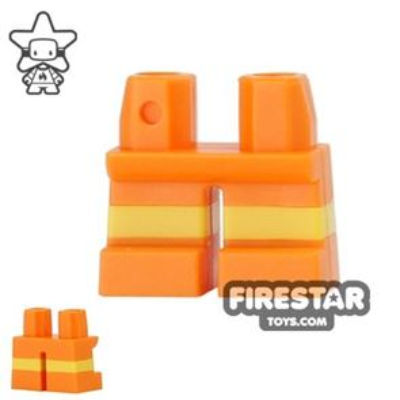 LEGO Mini Figure Legs - Short - Orange Shorts with Yellow Stripes
