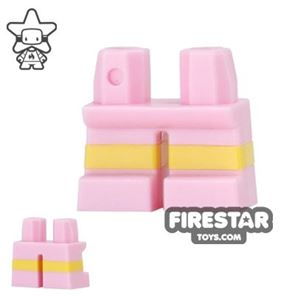 LEGO Mini Figure Legs - Short - Bright Pink Shorts with Yellow Stripes