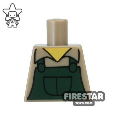 LEGO Mini Figure Torso - Dark Green Overalls (no arms)