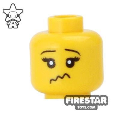 Custom Mini Figure Heads - Worried - Yellow
