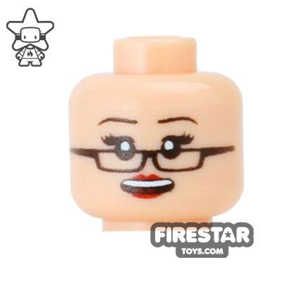 Custom Mini Figure Heads - Grin with Glasses - Light Flesh