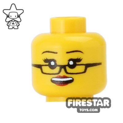 Custom Mini Figure Heads - Grin with Glasses - Yellow