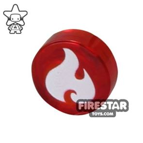 Printed Round Tile 1x1 - Fire Print