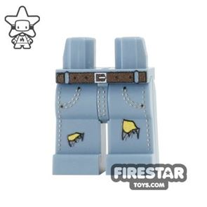Custom Design Legs - Ripped Jeans - Sand Blue with Yellow Tear