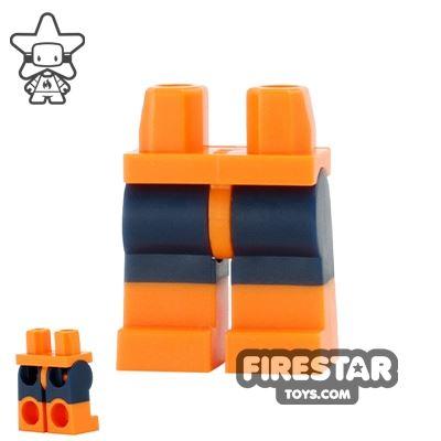 LEGO Mini Figure Legs - Orange with Dark Blue Shorts