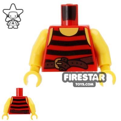 LEGO Mini Figure Torso - Red and Black Pirate Vest