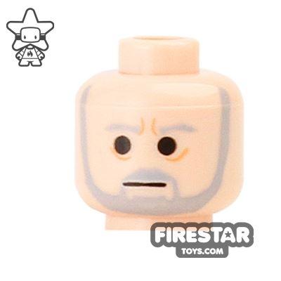 LEGO Mini Figure Heads - Gray Beard and Furrowed Brow