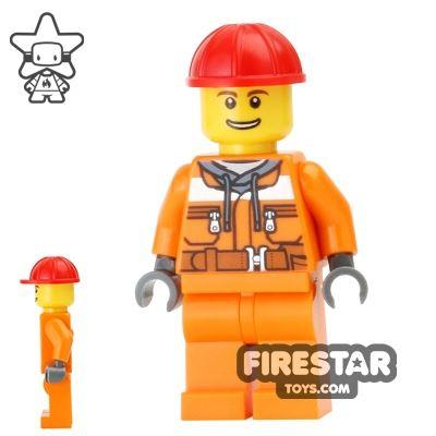 LEGO City Mini Figure - Construction Worker - Orange Overalls 14
