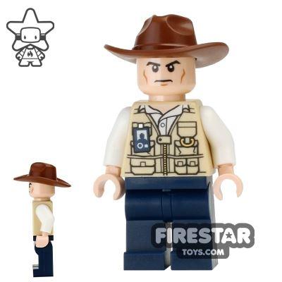 LEGO Jurassic World Figure - Vet - Fedora Hat - Scowl