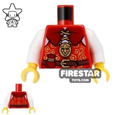 LEGO Mini Figure Torso - Castle Nobleman Gold and Red Vest