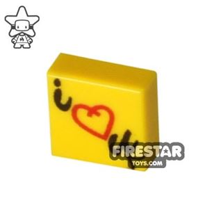 Printed Tile 1x1 - Post-it Note - I Love You