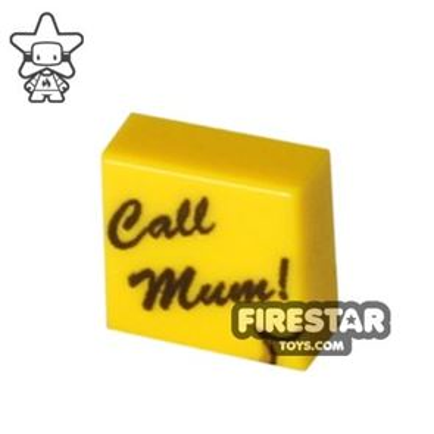 Printed Tile 1x1 - Post-it Note - Call Mum