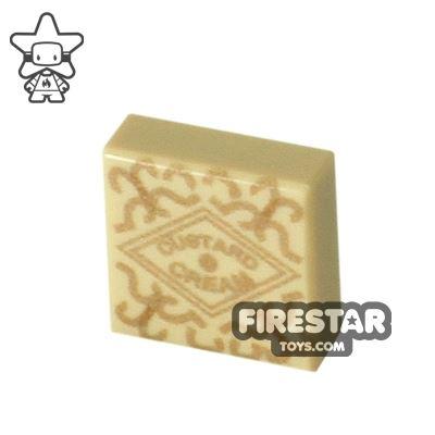 Printed Tile 1x1 - Custard Cream