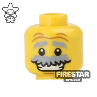 LEGO Mini Figure Heads - Grin and Moustache