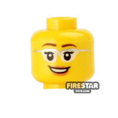 LEGO Mini Figure Heads - Smile and Silver Framed Glasses
