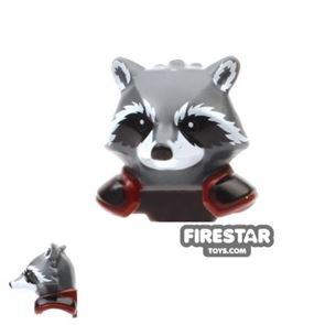 LEGO Mini Figure Heads - Rocket Raccoon - Black and Red Shoulder Pads