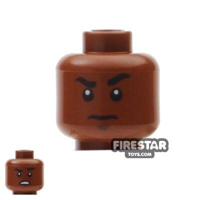 LEGO Mini Figure Heads - Scowl - Raised Eyebrow