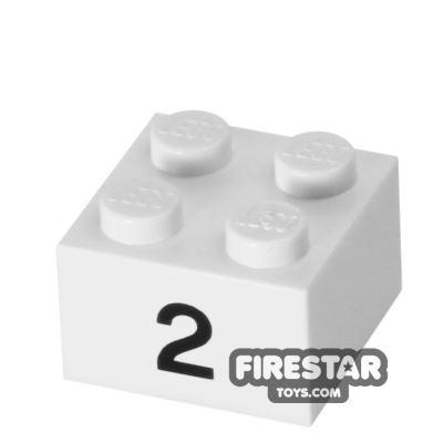 Printed Brick 2x2 - Number 2