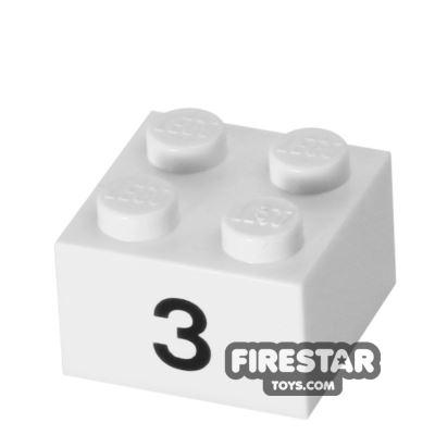 Printed Brick 2x2 - Number 3