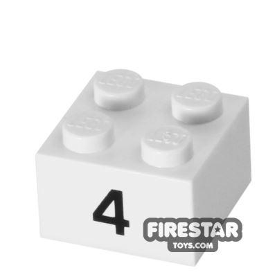 Printed Brick 2x2 - Number 4