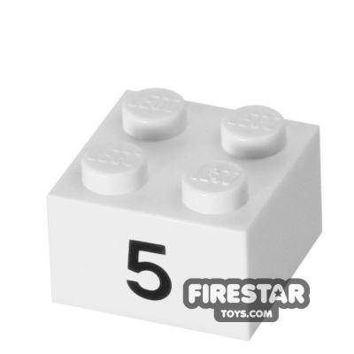 Printed Brick 2x2 - Number 5