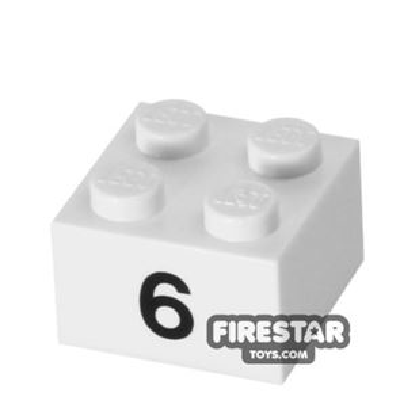 Printed Brick 2x2 - Number 6