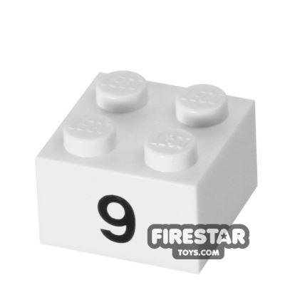 Printed Brick 2x2 - Number 9
