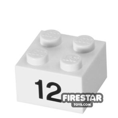 Printed Brick 2x2 - Number 12