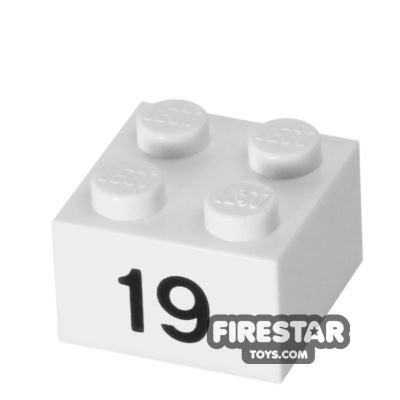 Printed Brick 2x2 - Number 19