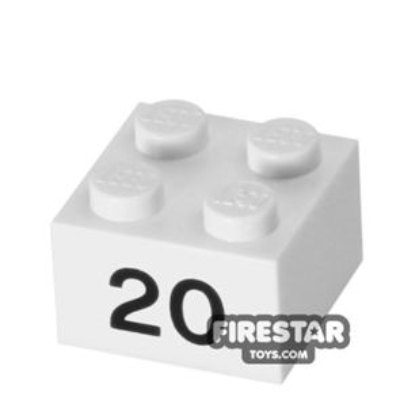 Printed Brick 2x2 - Number 20