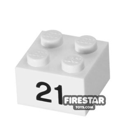 Printed Brick 2x2 - Number 21