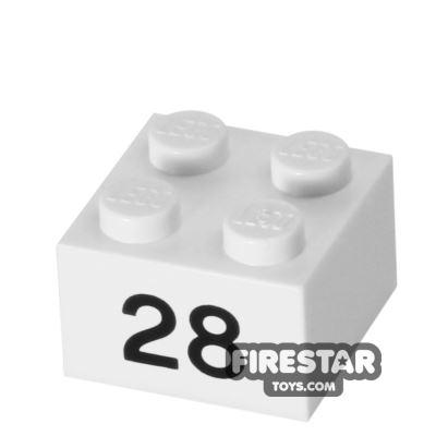 Printed Brick 2x2 - Number 28