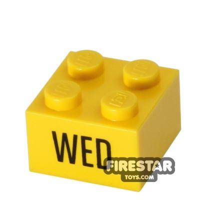 Printed Brick 2x2 - Calendar Brick - Wed