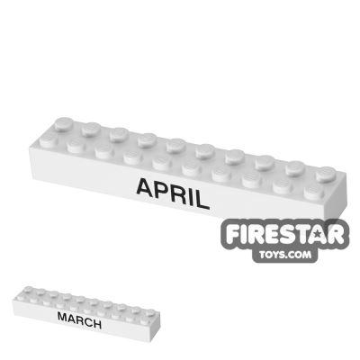 Printed Brick 2x10 - Calendar Brick - March/April