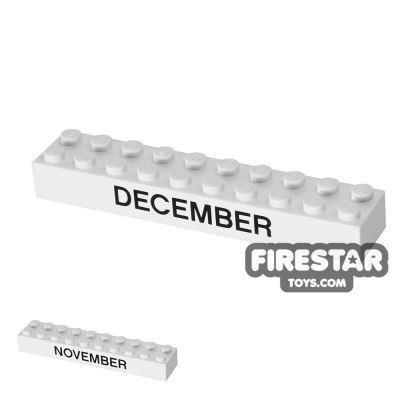 Printed Brick 2x10 - Calendar Brick - November/December