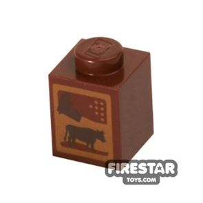 Printed Brick 1x1 - Chocolate Milk Carton