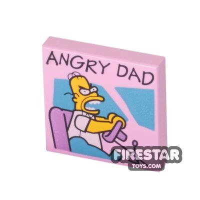Printed Tile 2x2 - Homer Simpson - Angry Dad