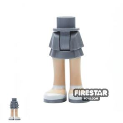 LEGO Friends Mini Figure Legs - Flat Silver Layered Skirt