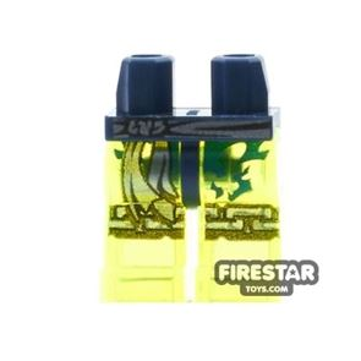 LEGO Mini Figure Legs - Trans Neon Green with Sash