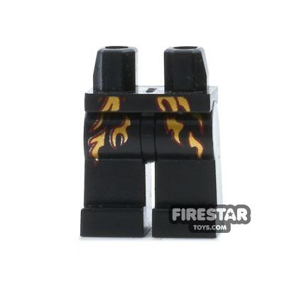 LEGO Mini Figure Legs - Black with Flames