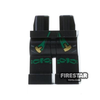 LEGO Mini Figure Legs - Ninjago - Black with Gold and Green Sash