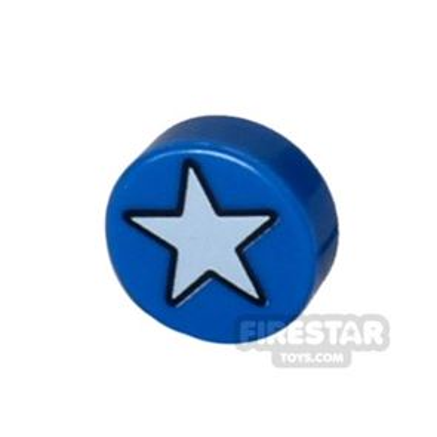 Printed Round Tile 1x1 - Star