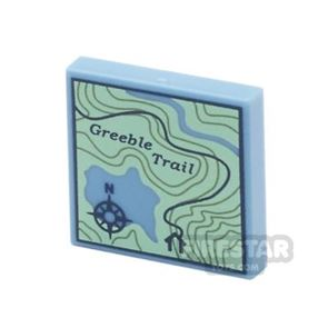 Printed Tile 2x2 - Topographical Trail Map