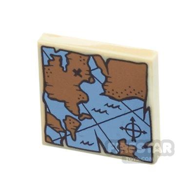 Printed Tile 2x2 - Treasure Map
