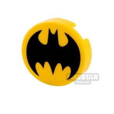 Printed Round Tile 2x2 Batman Logo