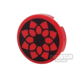 Printed Round Tile 2x2 - Red and Black Flower