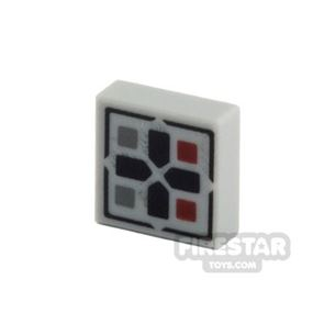 Printed Tile 1x1 - Black Cross with Buttons