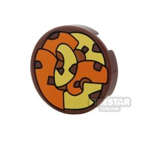 Printed Round Tile 2x2 - Orange and Yellow Tentacles
